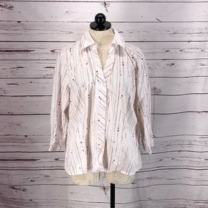 Chico's Lady Bug Button Down Blouse
